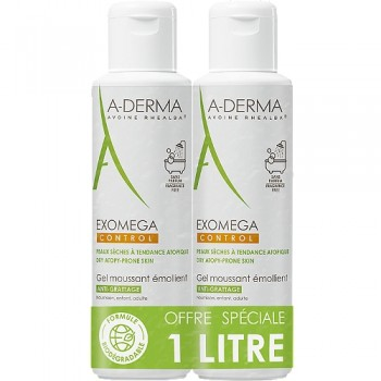 Lot 2 EXOMEGA CONTROL Gel moussant Emollient anti-grattage 2 x 500 ml A-DERMA